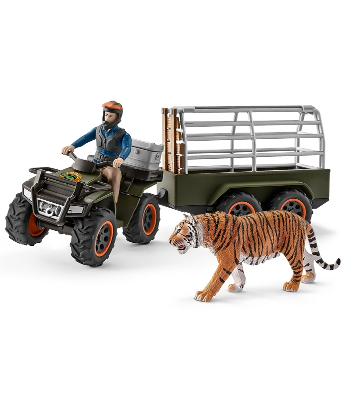 Schleich Quad Bike, Trailer, Ranger & Tiger! 42351